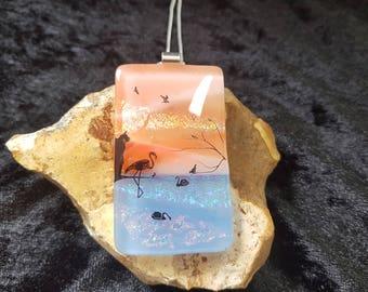 Dichroic Glass Pendant - Fused Glass Jewelry - Dichroic Glass Pendant - Fused Glass Pendant - Dichroic Jewelry - Landscape Pendant