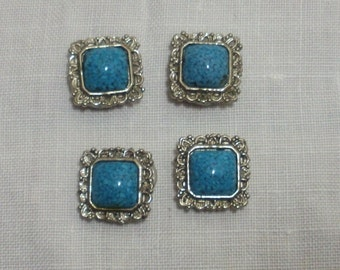 Vintage Set of 4 Turquoise Color Button Covers