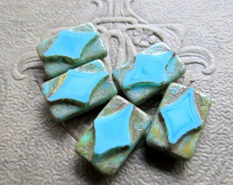 NEW TURQUOISE REX . Czech Picasso Glass Beads (10 beads) 12 mm