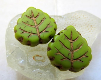 NEW BRONZED AVOCADO Leaves . Czech Pressed Glass Leaves (4 beads) 16 by 15 mm