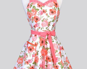 Sweetheart 50s Womens Apron - Orange Sherbet Rose Floral Retro Cute Flirty Vintage Style Pin Up Kitchen Apron with Fitted Bodice