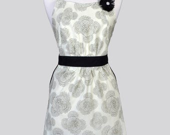 Classic Womens Full Apron / Amy Butler Fabric in Ivory and Slate Grey Retro Vintage Style Kitchen Apron with Pockets and Fitted Bodice