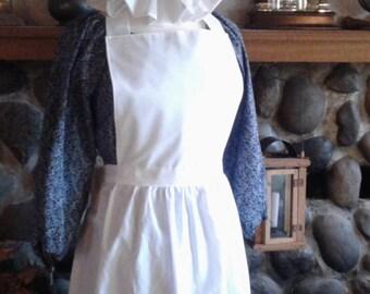 Trek Reenactment Colonial Costume Calico Print Dress Pinafore Apron and Mob Hat Civil War Pioneer Prairie