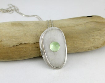 Beach Pebble, Prehnite, and Sterling Silver Necklace