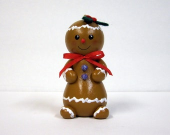 Christmas Gingerbread Girl Wood Ornament