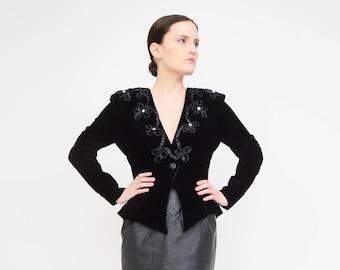 Vintage 80s Black VELVET Jacket - Hourglass Peplum Jacket - Deep V Blouse - 80s Goth Vamp Top Embellished Blazer - Small S