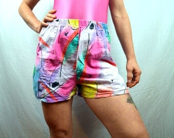 Vintage 80s Neon Rainbow Fun Summer Shorts