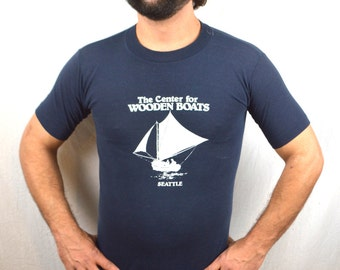 Vintage 80s Blue Tshirt Tee Shirt - Center for Wooden Boats - Seattle