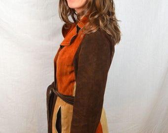 Vintage Boho Patchwork Suede and Shearling Jacket