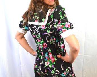 Vintage 80s Sweet Floral Overall Harem Romper - XS - You Babes