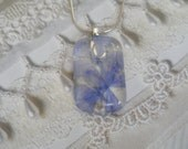 Periwinkle Plumbago Blossoms Pressed Flower Glass Rectangle Pendant-Symbolizes Spiritual Desires-Gifts Under 30-Nature's Wearable Art
