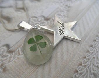 4 Leaf Clover White Cat's Eye Teardrop Pendant w/Star Shaped Wish Charm-Nature's Art-Symbolizes Luck, Love,Hope,Faith-Gifts Under 30