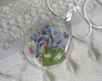 Forget-Me-Nots,Veronica,Queen Anne's Lace,Thundercloud Plum,Lobelia,Ferns Pressed Flower Glass Teardrop Pendant-Symbol Of True Love,Peace