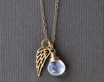 Miscarriage Necklace with June Birthstone Moonstone / Gold Angel Wing Necklace / Angel Baby Jewelry / Remembrance Gift