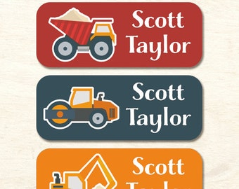 30 name stickers, waterproof labels, construction trucks, school labels, sippy cup label, daycare labels, boy labels, kids stickers (NS-17)