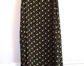 april cornell  1980s petite yellow roses sleeveless rayon crepe midi dress