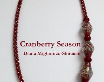 Cranberry Red Asymmetric Beaded Kumihimo Necklace, Cranberry Season by Diana Miglionico-Shiraishi for Jasmine Tea Designs