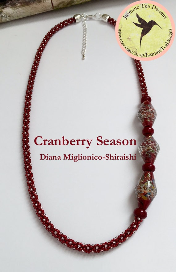 Cranberry Red Asymmetric Beaded Kumihimo Necklace, Cranberry Season by Diana Miglionico-Shiraishi for Jasmine Tea Designs