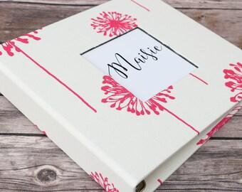 Baby Book, Baby Gift, Baby Album, Baby Memory Book, Baby Keepsake, Modern Baby Book, Hot Pink Dandelion