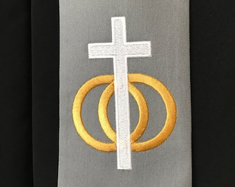 Wedding Officiant Clergy Stole in Gray