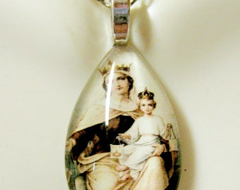 Our Lady of Mount Carmel teardrop pendant with chain - GP10-114