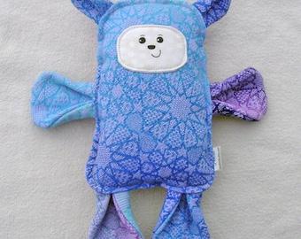 Bear -  Oscha Andaluz Agata Wrap Scrap Bear Pillow Plush - Hand Drawn Face - Bue Purple Lavender