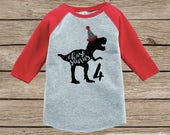 Boy's Dino Birthday Outfit - Dinosaur Birthday Shirt - Onepiece or Tshirt Birthday Outfit - Red Raglan Birthday Shirt - Funny Trex Party Hat
