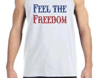 Men's 4th of July Tank Top - Feel The Freedom - White Tank - Patriotic 4th of July Party Shirt - Military Patriotic Independence Day Tank
