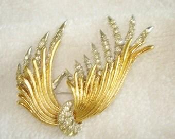 Clear Rhinestone Brooch Gold Silver Tone Feather Brooch
