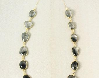 Gold Black Rutile Quartz Necklace - Black Stone Bib Necklace - Tourmalinated Quartz