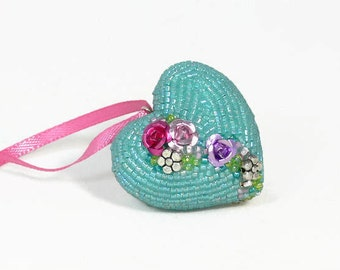 Heart Ornament Blue Beaded Floral Mother's Day Housewarming Hostess Gift *READY TO SHIP