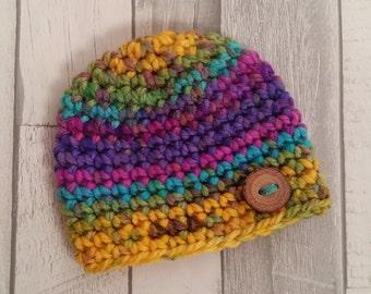 Photo Prop//Newborn//Button Hat//Rainbow//Eco***READY TO SHIP***