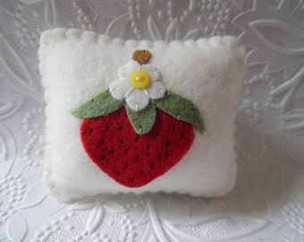 Red Strawberry Pincushion Felt Flower Pin Keep Sewing Felted Wool