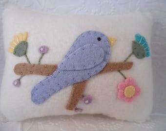 Decorative Bird Pillow Appliqued Wool Felt Bird Penny Rug Primitive Baby