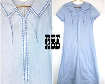 Cute Vintage 60s 70s Pastel Blue Swiss Dot Maxi Dress with Embroidered Collar! Plus!