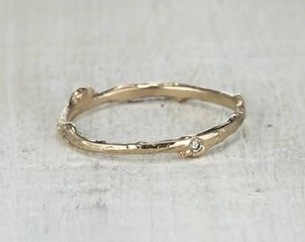 Twig Ring with Flush Set Diamonds - Nature Inspired Diamond Eternity Band Twig Wedding Ring in Rose Gold, Yellow Gold, White Gold, Platinum