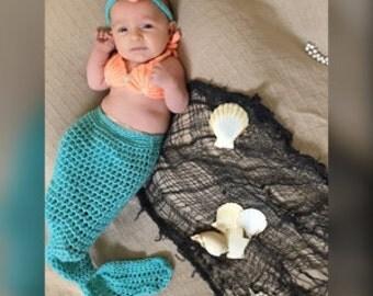Baby Mermaid Outfit- Newborn Mermaid Costume - Mermaid Baby Blanket - Mermaid Baby Outfit - Mermaid Tail Blanket - Newborn Mermaid Outfit