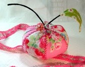 Pincushion- Pink Lady Apple- Rose Print, Apple Pincushion- Mothers Day Gift- Ready to Ship