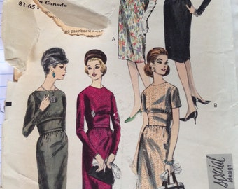 Vintage 60s Vogue Special Design Dress Pattern 5524 Low Back Fitted Midriff 32 bust