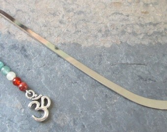 7 Chakra Bookmark - Chakra Gemstone Bookmark/Om Ohm Bookmark/Beaded Bookmark