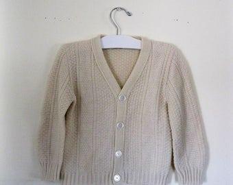 """Vintage Children's 60s cardigan sweater / Grunge Hipster """"old man"""" cardigan / Kid's cardigan sweater"""
