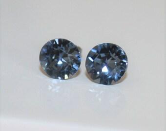 Blue stud earrings,Blue Ear Studs,Denim Blue studs,Blue Bridal Studs,Swarovski Stud Earrings 8mm,Blue Post Earrings,Hypoallergenic,Ear post