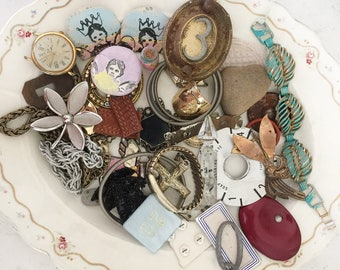 AWESOME!!!!! junk lot, repurposed lot, shabby jewelry lot, destash jewelry lot, costume jewelry lot, junk drawer, steampunk lot, upcycle lot