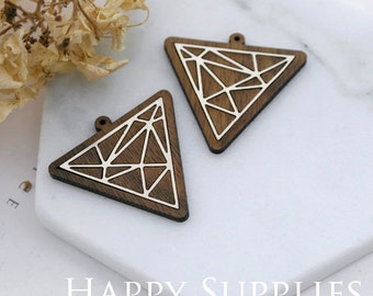Limited Edition - 2pcs Handmade 925 Silver Plated Brass Wooden Charm / Pendant, Perfect for Earring Necklace (LES16-S)