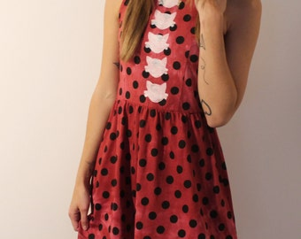 Polka Dotted Party Dress with kittens tie dyed