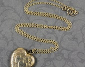Vintage 1940s 12K Gold Fill Etched MM Monogrammed Floral Heart Pendant Locket with 14K Gold Fill Necklace