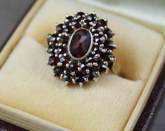 Vintage Bohemian Rose Cut Garnet 2 Tier Gold Vermeil 900 Silver Ring