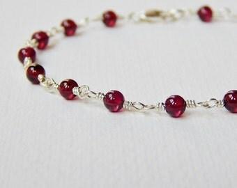 Garnet Bracelet - Sterling Silver Beadwork Bracelet Beaded Rosary Chain Oxblood Red Rosary Bracelet Bead Bracelet