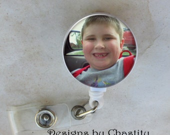 Custom Photo Badge Reel Retractable ID Lanyard Holder Belt Clip Personalized Just For You