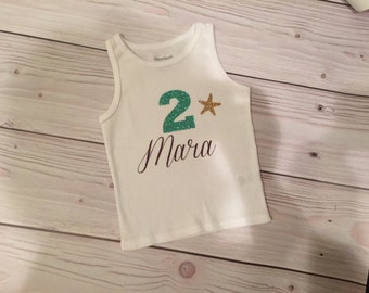 Little Mermaid Birthday Shirt, 2nd Birthday Top, Under the Sea Mermaid Birthday Party, 2t, 3t, 2 year old gifts